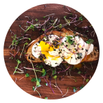 Microgreens on toast with poached egg