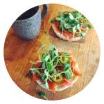 smoked salmon with microgreens and jalapenos