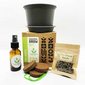 grow pea shoots at home with grow kit