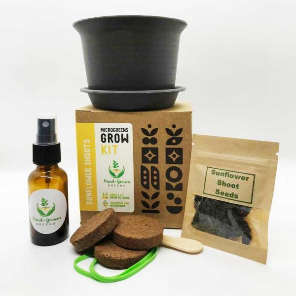 grow sunflower shoots at home with grow kit