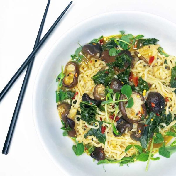 ramen with pea shoots